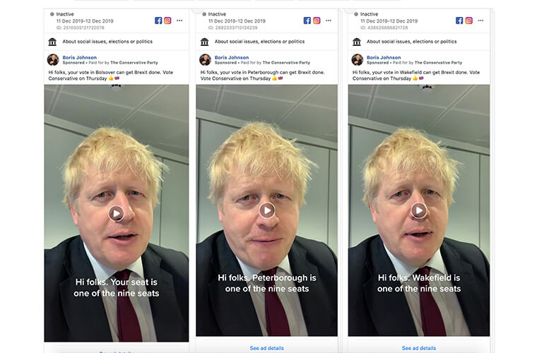 Multiple versions of Boris Johnson talking in area specific videos