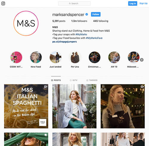 Marks and Spencer's Instagram account